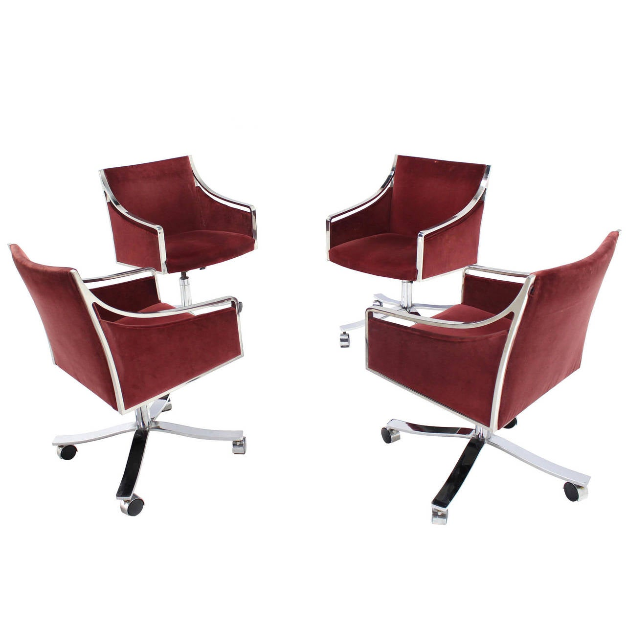 Set of Four Stow Davis Borsani Office Chairs on Heavy Stainless Steel x Bases