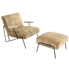 Wire Frame Lounge Chair and Ottoman in Style of Jean Royere