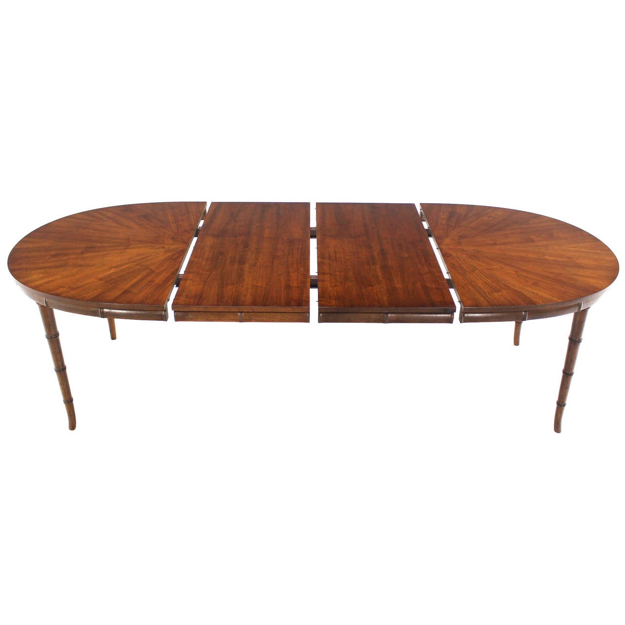 Faux bamboo horn shape leg mid century modern oval table for Dining table with two leaves