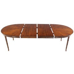 Faux Bamboo Mid-Century Modern Oval Table with Two Leaves