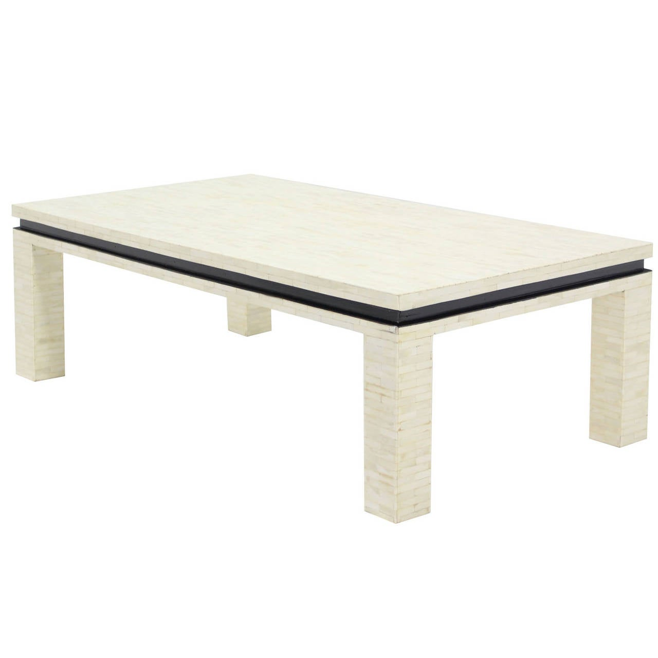 Bone Tile Rectangle Coffee Table At 1stdibs