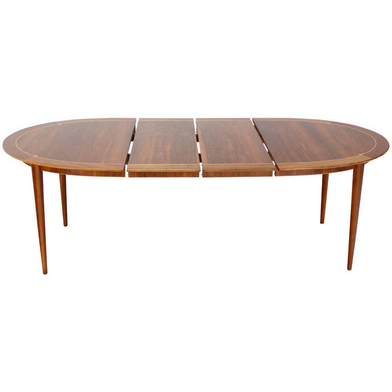 Mid century swedish modern oval dining table by edmond for Mid century modern dining table