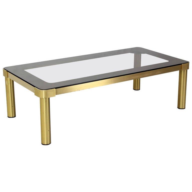 Mid Century Modern Brass and Two-Tone Glass Rectangular Coffee Table