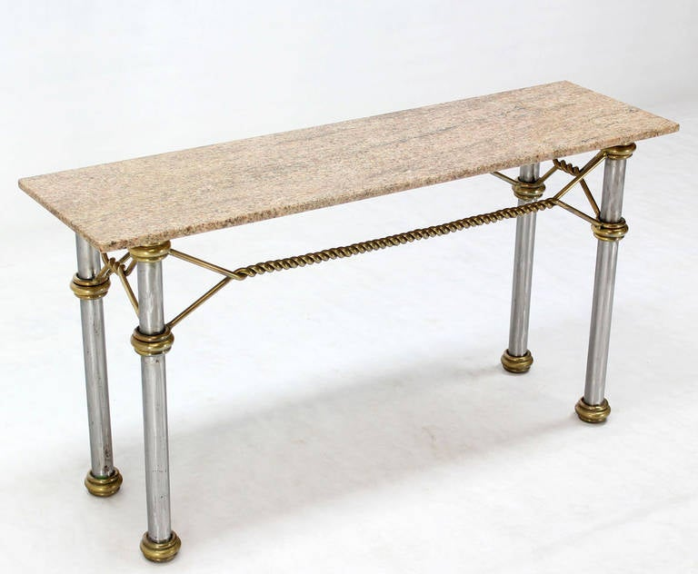 Mid Century Modern Solid Brass Rope Marble Top Console Table 3