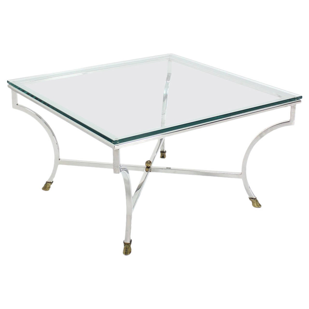 Square Crome Brass Hoof Feet X Base Glass Top Coffee Table For Sale At 1stdibs
