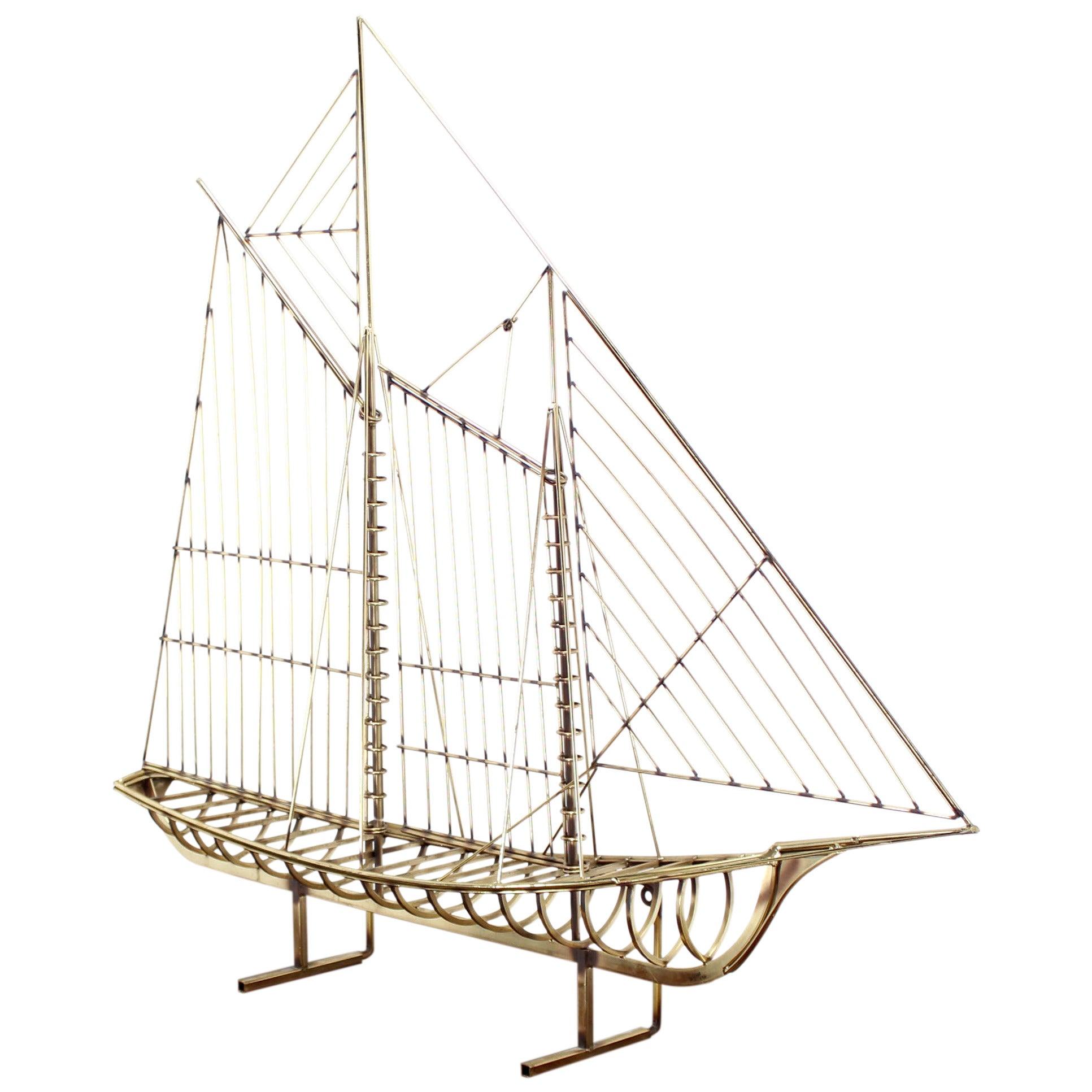 Long Brass 1976 Curtis Jere Sail Boat Sculpture