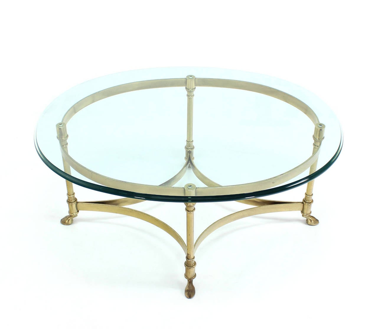Brass and glass oval hoof feet coffee table at 1stdibs for Oval glass coffee table