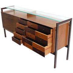 Multi Drawer Drop Front Bar Compartment Glass Shelf Top Long Dresser
