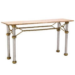 Mid Century Modern Solid Brass Rope  Marble Top Console Table