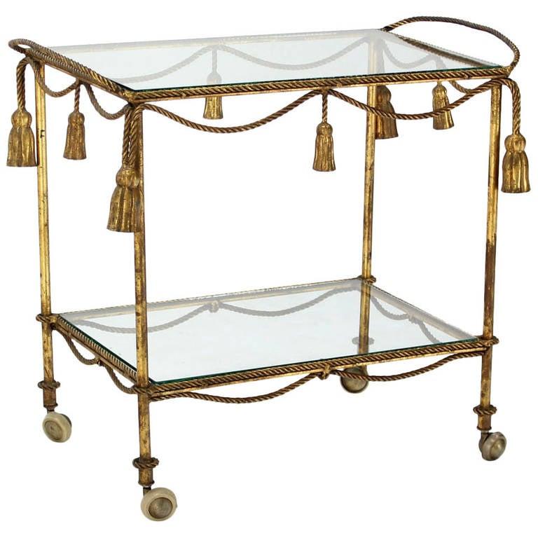 Midcentury Italian Gilt Metal Rope and Tassel Bar or Tea Cart
