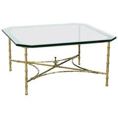 Faux Bamboo and Brass Mid-Century Modern Thick Glass-Top Coffee Table
