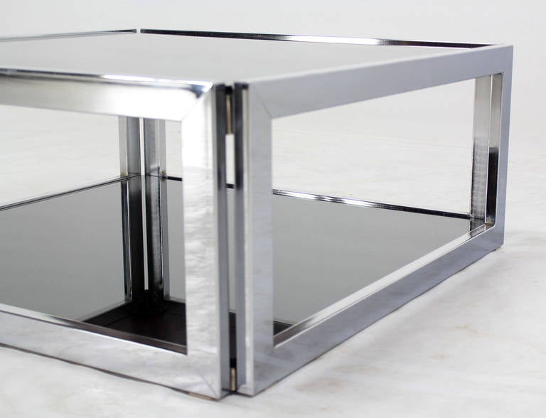 Square Chrome and Smoked Glass Coffee Table MidCentury Modern 2