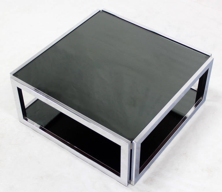 Square Chrome And Smoked Glass Coffee Table Mid-Century