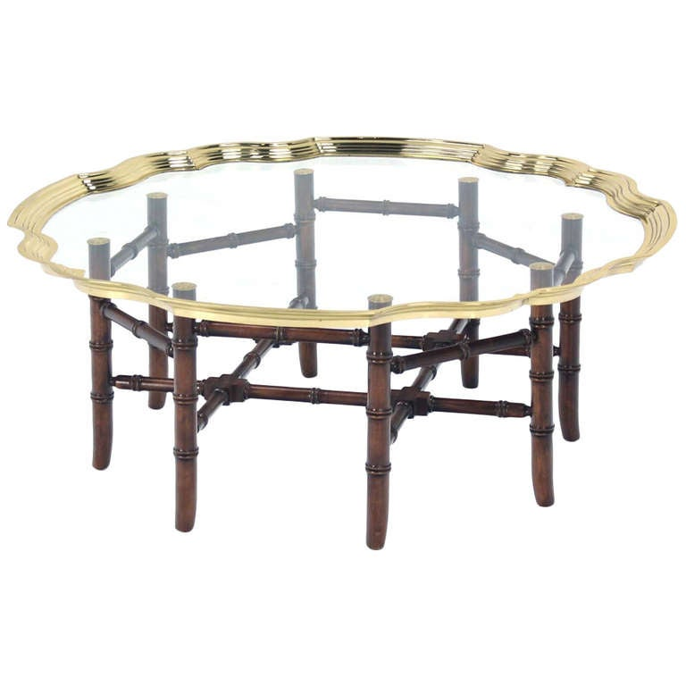 Hollywood Regency Style Brass Trim And Glass Tray Top Faux Bamboo Coffee Table For