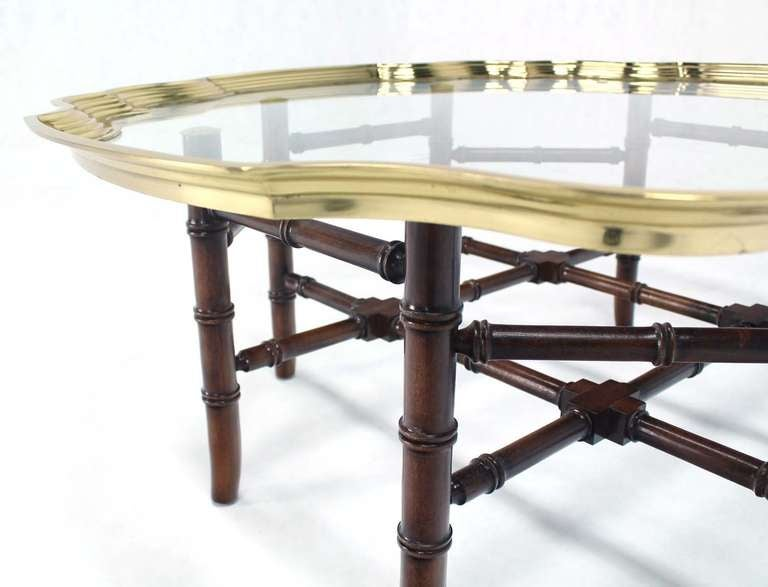 Style Brass Trim And Glass Tray Top Faux Bamboo Coffee Table Image 5