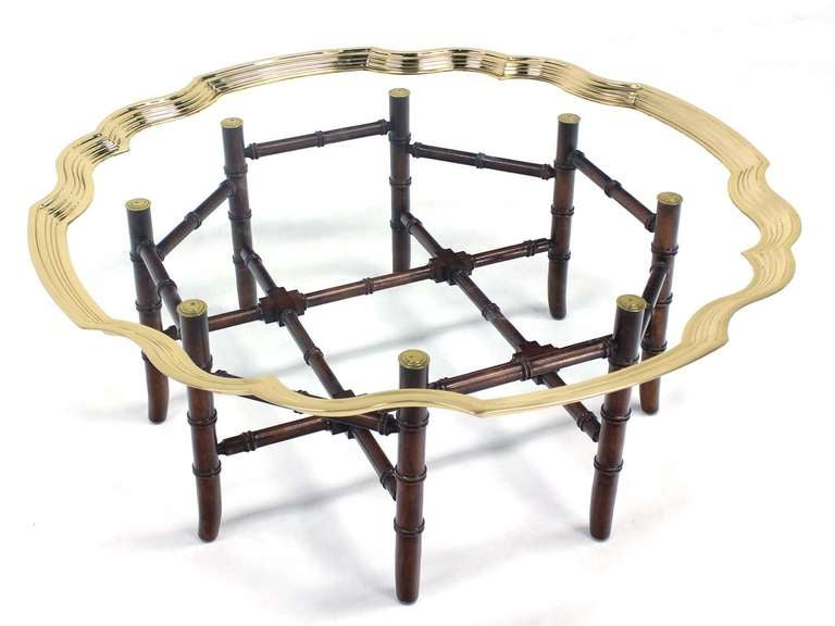 Hollywood Regency Style Brass Trim And Glass Tray Top Faux Bamboo Coffee Table At 1stdibs