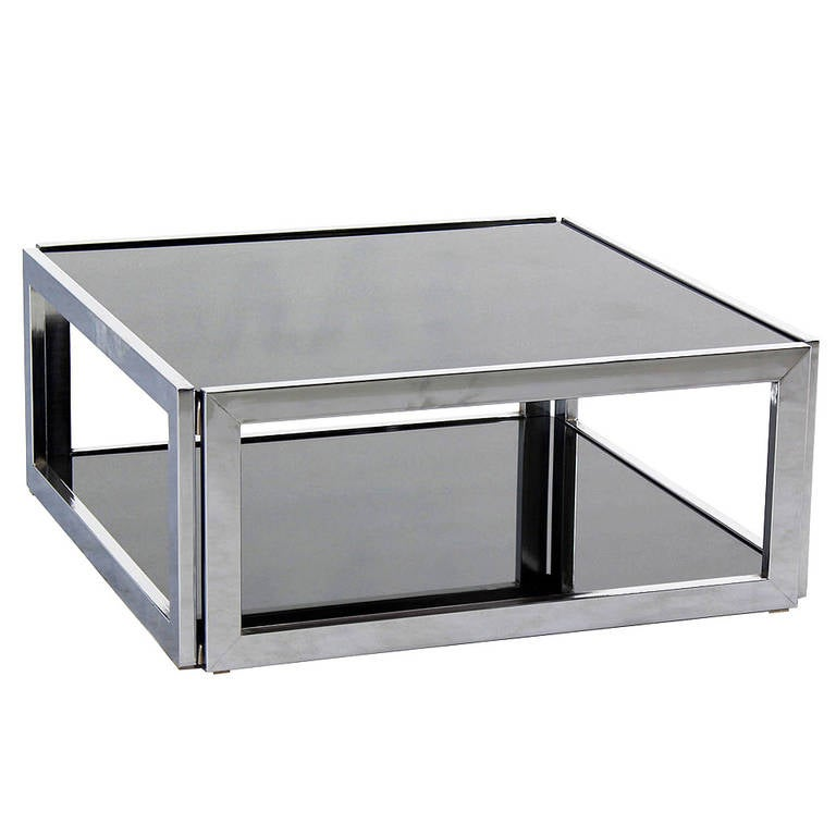 87950f022462b Square Chrome and Smoked Glass Coffee Table Mid-Century Modern 2 Tier. For  Sale