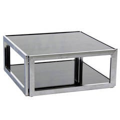 Square Chrome and Smoked Glass Coffee Table Mid-Century Modern 2 Tier.