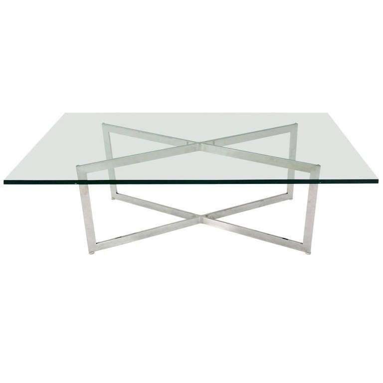 Modern Designer Large Round Coffee Table Glass Top Stainless Steel: Mid-Century Modern Stainless Chrome X-Base Coffee Table