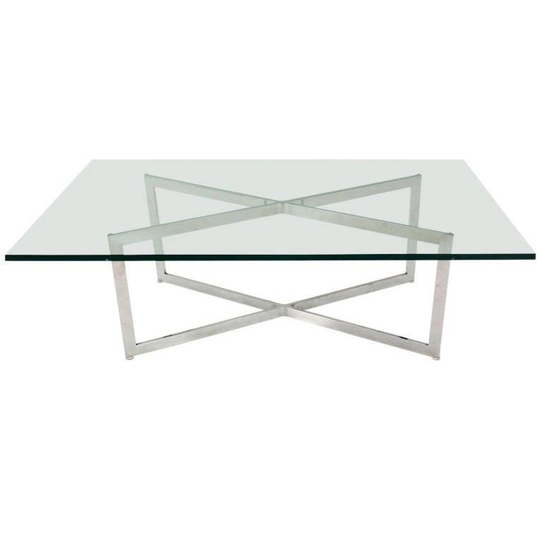 Chrome X Frame Coffee Table: Mid-Century Modern Stainless Chrome X-Base Coffee Table