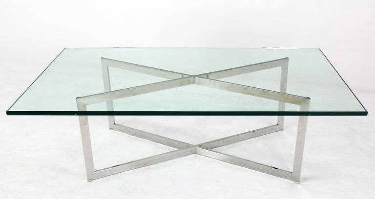 Nice Mid Century Modern Glass Top X Base Rectangular Coffee Table. The  Frame Is Polished