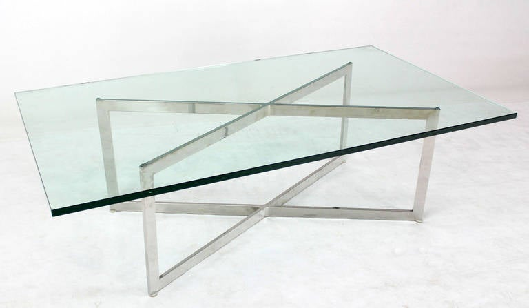 Mid Century Modern Stainless Chrome X Base Coffee Table With Glass Top At 1stdibs