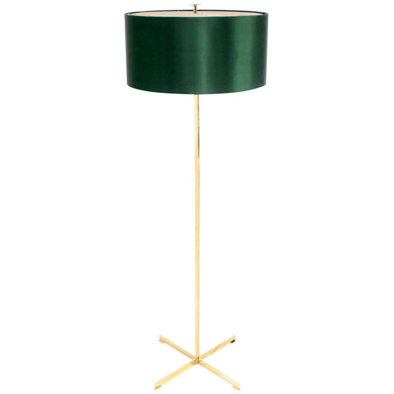 Mid-Century Modern Solid Brass Floor Lamp In Style Of