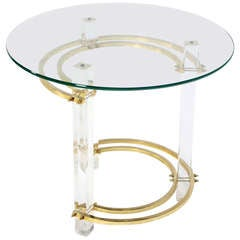 Brass Lucite Base Glass Top Mid Century Occasional Coffee End Table Stand
