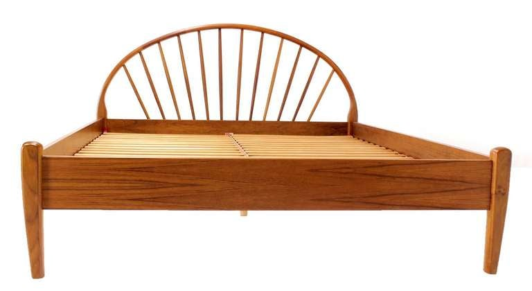 danish mid century modern solid teak queen bed frame headboard 2 - Modern Queen Bed Frame