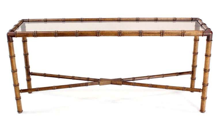 Marvelous Mid Century Modern Faux Bamboo Smoked Glass Top Console Table 2