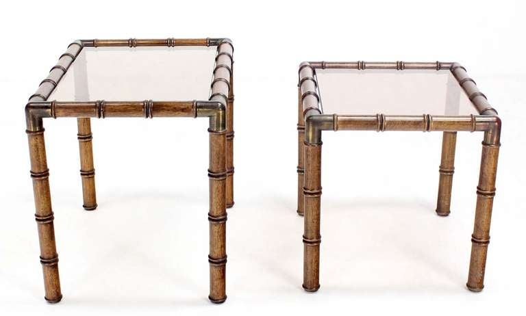 Mid Century Modern Faux Bamboo Nesting Stacking End Tables In Good Condition For Sale In Rockaway, NJ