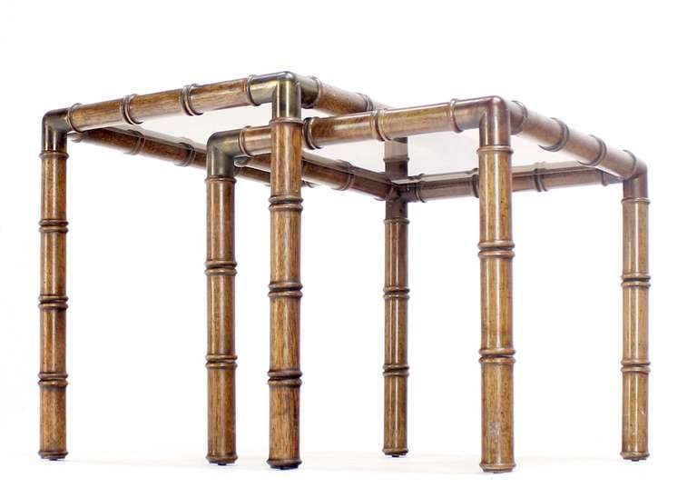 20th Century Mid Century Modern Faux Bamboo Nesting Stacking End Tables For Sale