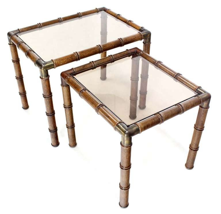 American Mid Century Modern Faux Bamboo Nesting Stacking End Tables For Sale