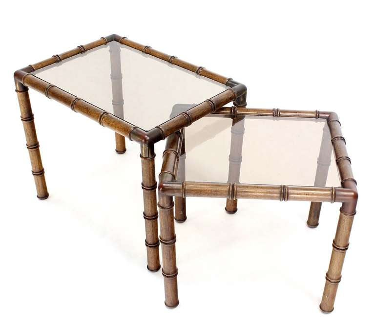 Mid Century Modern Faux Bamboo Nesting Stacking End Tables For Sale 1