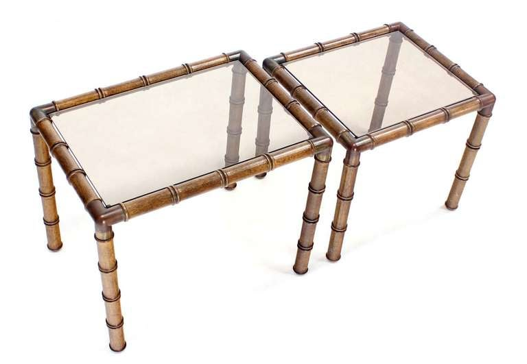 Lacquered Mid Century Modern Faux Bamboo Nesting Stacking End Tables For Sale