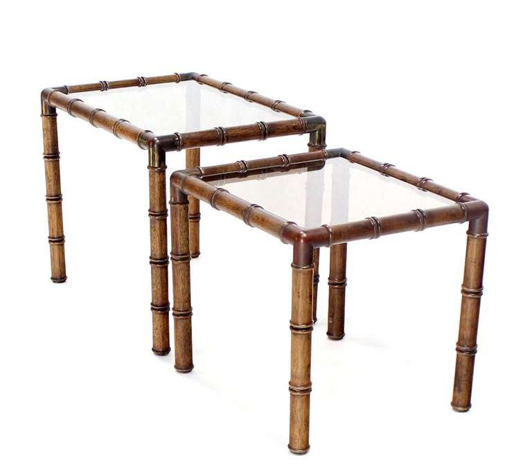 Mid-Century Modern Mid Century Modern Faux Bamboo Nesting Stacking End Tables For Sale