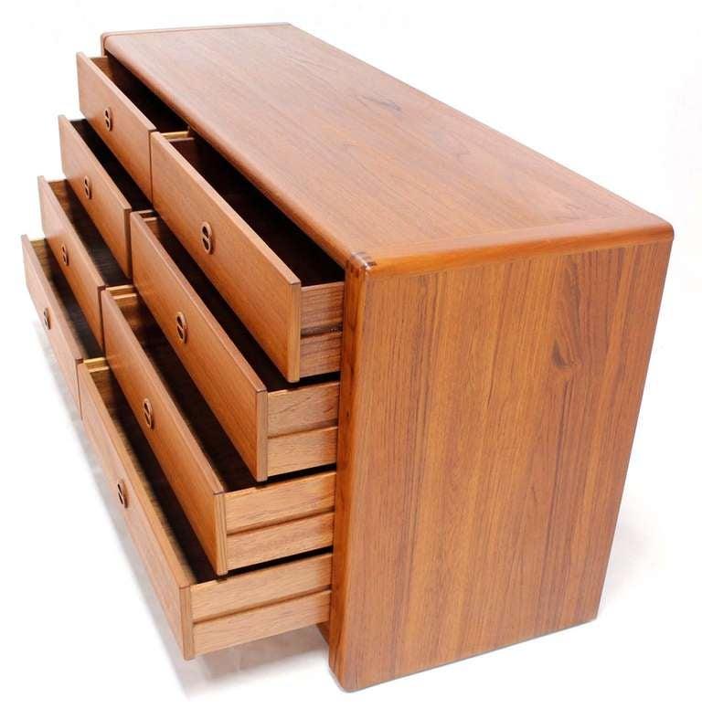 20th Century Danish Mid Century Modern Teak Eight Drawer Dresser Credenza Cabinet For Sale