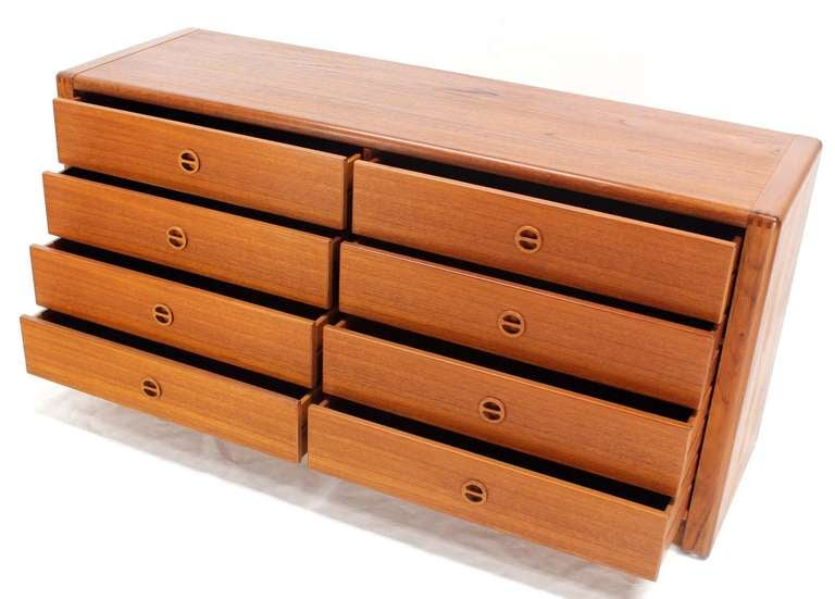 Danish Mid Century Modern Teak Eight Drawer Dresser Credenza Cabinet For Sale 2