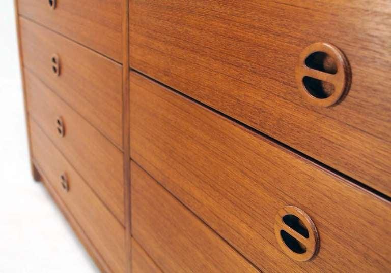 Lacquered Danish Mid Century Modern Teak Eight Drawer Dresser Credenza Cabinet For Sale