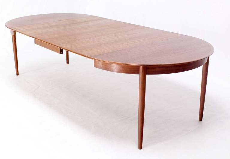 danish mid century modern round teak dining table with