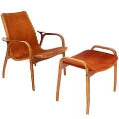 Danish Mid-Century Modern Suede Lounge Chair and Ottoman by Yngve Ekstrom