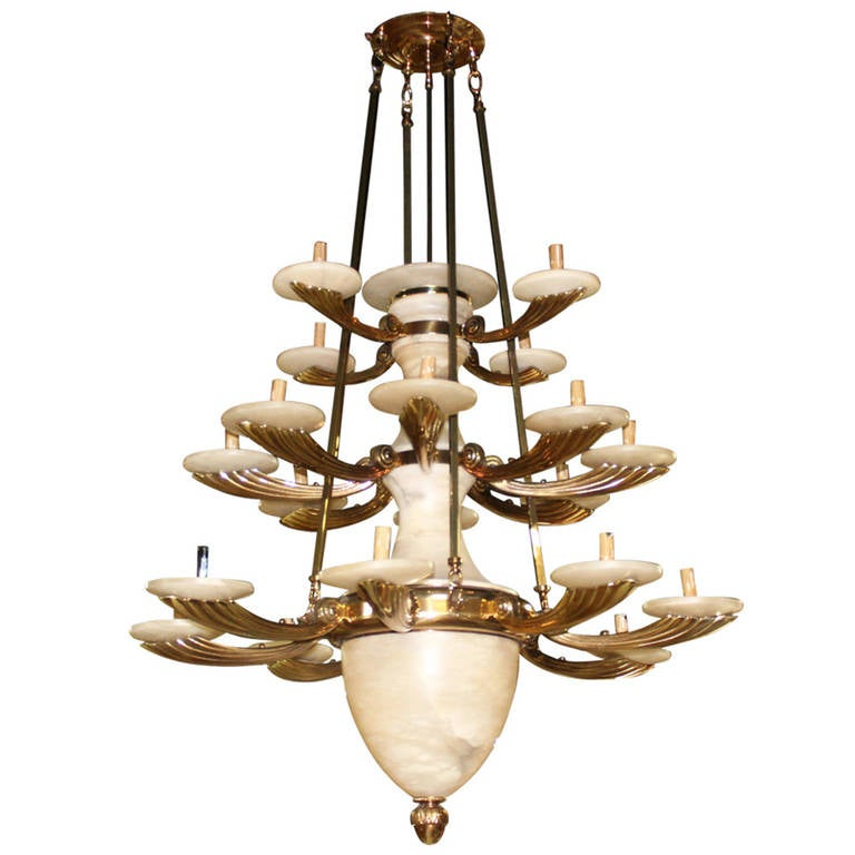 this tall modern three tier alabaster chandelier is no longer