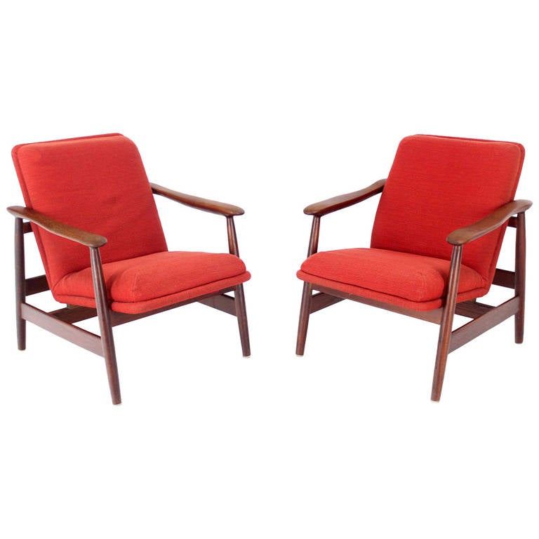 Pair of Mid-Century Danish Modern Solid Oiled Walnut Lounge Chairs
