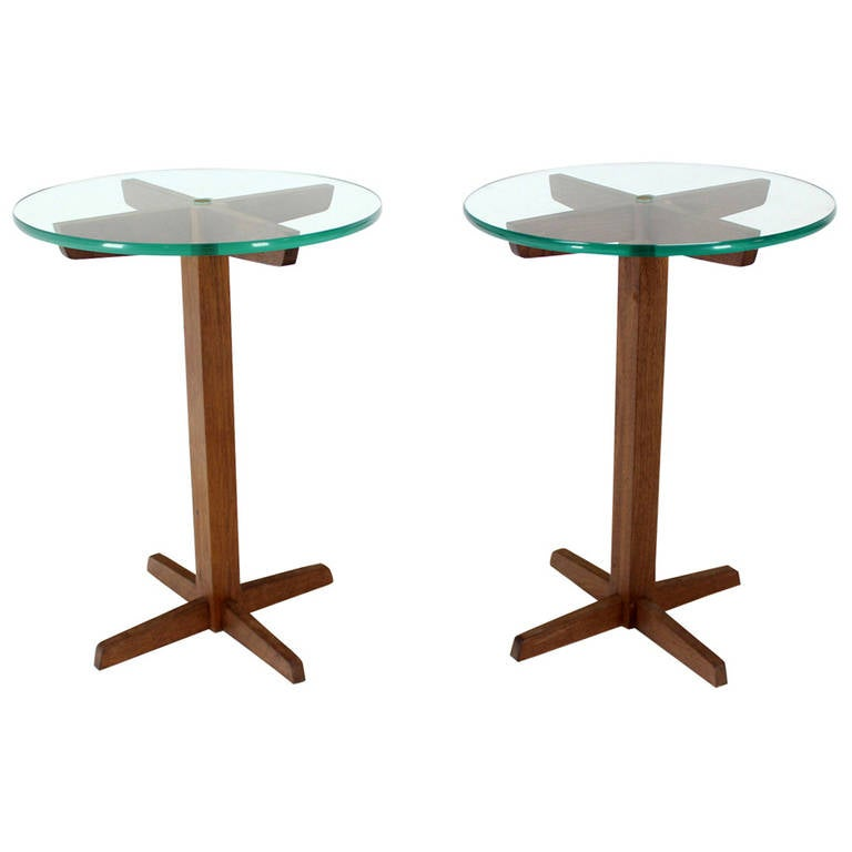 Pair of Mid Century Modern Glass Top Solid Walnut X-Base End or Side Tables
