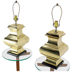 Pair of Modern Polished Brass Table Lamps