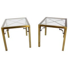 Pair of Mid-Century Modern Cross Brass Base and Glass-Top Side or End Tables