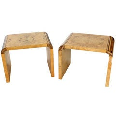 Pair of Mid-Century Modern Burl Wood Benches by Henredon
