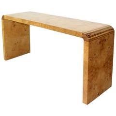 Burl Wood Mid-Century Modern Console Table by Henredon