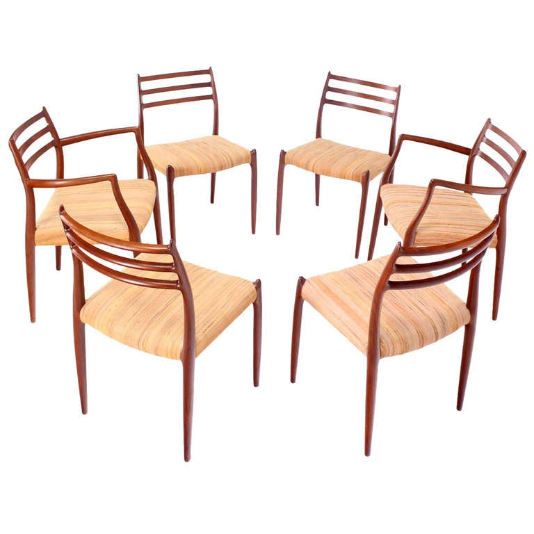 this set of six danish modern teak dining chairs by niels moller is no
