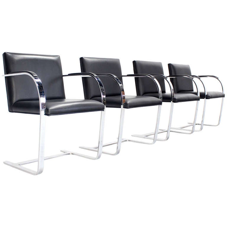 Set of 4 flat bar brno dining office chairs at 1stdibs